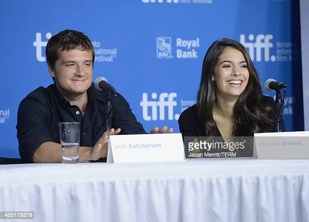 Actor Josh Hutcherson and actress Claudia Traisac speak onstage at Escobar Paradise Lost Press Conference during the 2014 Toronto International Film...