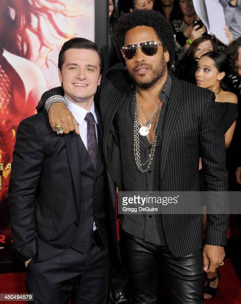 Actor Josh Hutcherson and musician Lenny Kravitz arrive at the Los Angeles premiere of 'The Hunger Games Catching Fire' at Nokia Theatre LA Live on...