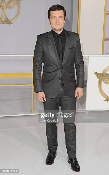 Actor Josh Hutcherson arrives at the Los Angele Premiere The Hunger Games Mockingjay Part 1 at Nokia Theatre LA Live on November 17 2014 in Los...