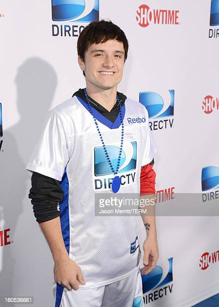 Actor Josh Hutcherson attends DIRECTV'S Seventh Annual Celebrity Beach Bowl at DTV SuperFan Stadium at Mardi Gras World on February 2 2013 in New...