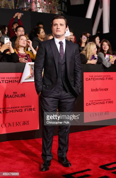 Actor Josh Hutcherson attends premiere of Lionsgate's The Hunger Games Catching Fire Red Carpet at Nokia Theatre LA Live on November 18 2013 in Los...