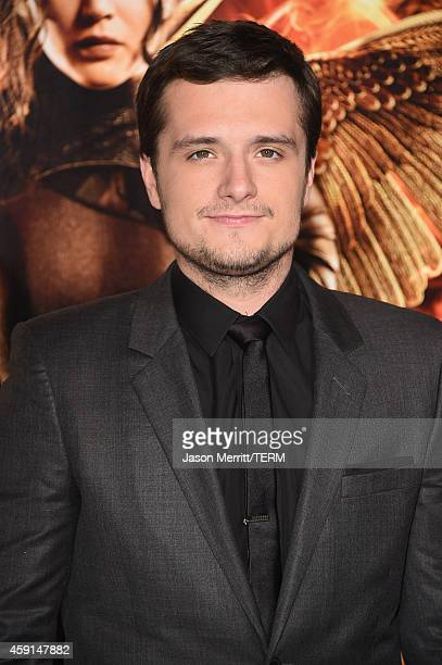 Actor Josh Hutcherson attends the Premiere of Lionsgate's The Hunger Games Mockingjay Part 1 at Nokia Theatre LA Live on November 17 2014 in Los...