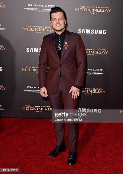 Actor Josh Hutcherson attends the premiere of Lionsgate's The Hunger Games Mockingjay Part 2 at Microsoft Theater on November 16 2015 in Los Angeles...
