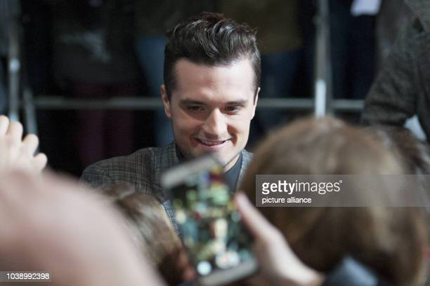 Actor Josh Hutcherson attends the world premiere of the film 'The Hunger Games Mockingjay Part 2' in Berlin Germany 4 November 2015 Photo Paul...