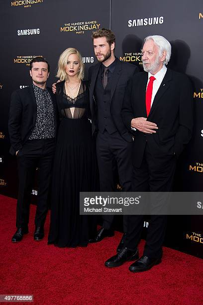Actor Josh Hutcherson Jennifer Lawrence Liam Hemsworth and Donald Sutherland attend 'The Hunger Games Mockingjay Part 2' New York premiere at AMC...
