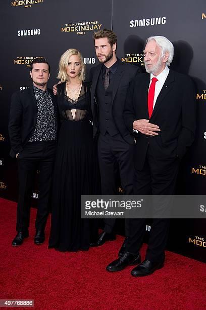 Actor Josh Hutcherson Jennifer Lawrence Liam Hemsworth and Donald Sutherland attend The Hunger Games Mockingjay Part 2 New York premiere at AMC Loews...