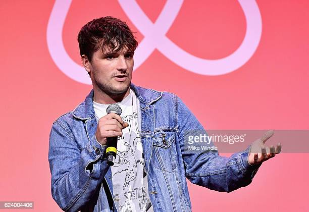 Actor Josh Hutcherson speaks onstage during Airbnb Open LA Day 1 at The Globe on November 17 2016 in Los Angeles California