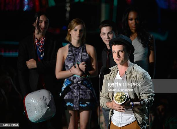 Actor Josh Hutcherson speaks onstage during the 2012 MTV Movie Awards at Gibson Amphitheatre on June 3 2012 in Universal City California