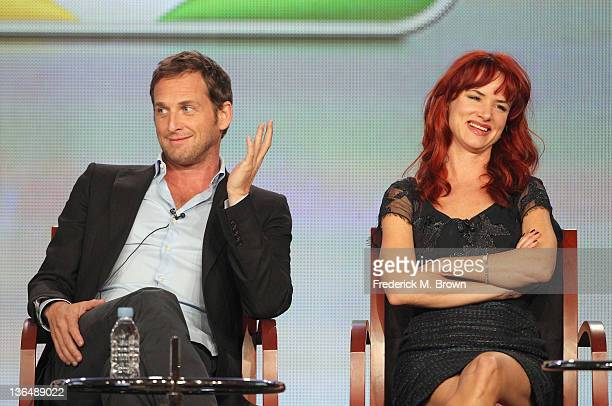 Actor Josh Lucas and Actress Juliette Lewis speak onstage during The Firm panel during the NBCUniversal portion of the 2012 Winter TCA Tour at The...