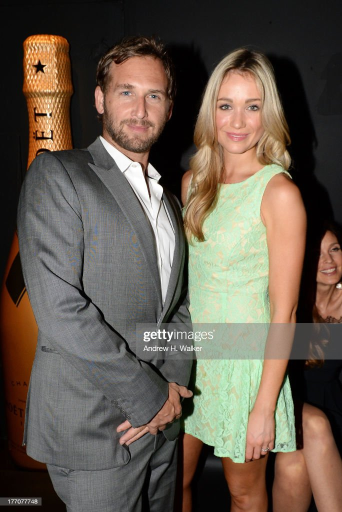 Actor Josh Lucas (L) and Actress Katrina Bowden attend Moet & Chandon Celebrates Its 270th Anniversary With New Global Brand Ambassador, International Tennis Champion, Roger Federer at Chelsea Piers Sports Center on August 20, 2013 in New York City.