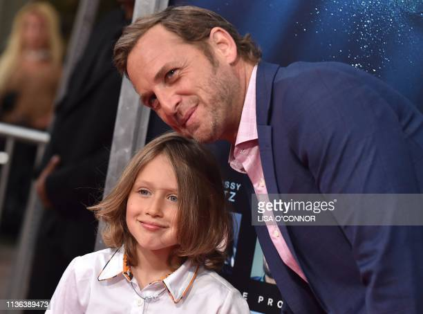 US actor Josh Lucas and son Noah Rev Maurer arrive for the 'Breakthrough' Los Angeles premiere at Regency Village Theatre in Westwood California on...