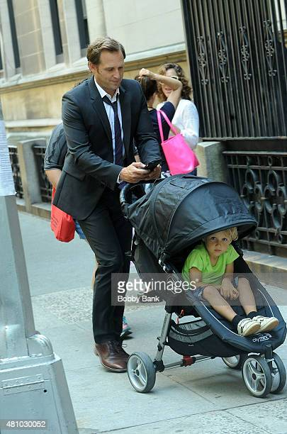 Actor Josh Lucas with his son Noah Rev Maurer on the set of The Mysteries of Laura on July 16 2015 in New York City