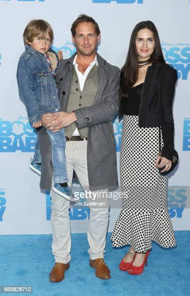 Actor Josh Lucas with Jessica Ciencin Henriquez and son Noah Rev Maurer attend The Boss Baby New York premiere at AMC Loews Lincoln Square 13 theater...