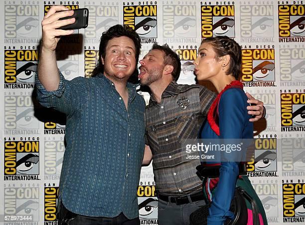 Actor Josh McDermitt TV host Chris Hardwick and actress Lauren Cohan during ComicCon International 2016 on July 22 2016 in San Diego California
