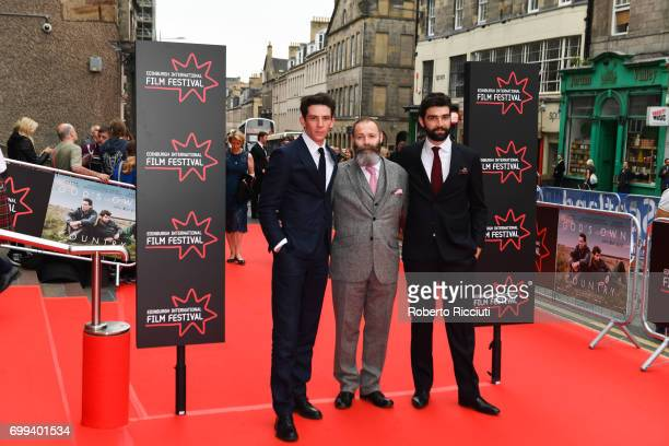 Actor Josh O'Connor director Francis Lee and actor Alec Secareanu attend the UK premiere of 'God's Own Country' and opening gala of the 71th...