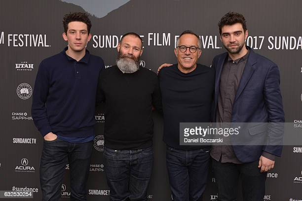 Actor Josh O'Connor Director Francis Lee Sundance Film Festival Director John Cooper and actor Alec Secareanu attend the 'God's Own Country' Premiere...