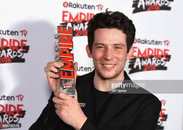 Actor Josh O'Connor winner of the Best Male Newcomer award poses in the winners room at the Rakuten TV EMPIRE Awards 2018 at The Roundhouse on March...