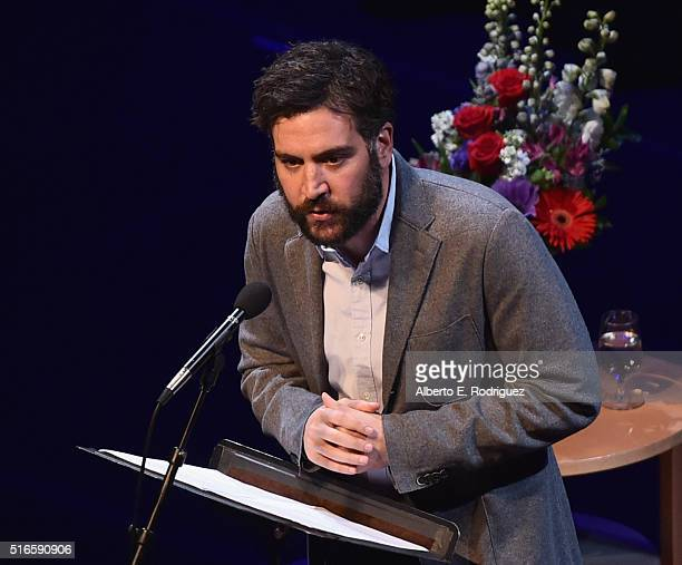 Actor Josh Radnor speaks at Selected Shorts 2016 Dangers and Discoveries at The Getty Center on March 19 2016 in Los Angeles California