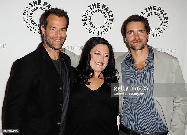 Actor Josh Stamberg actress Brooke Elliott and actor Jackson Hurst arrive at the 'Drop Dead Diva Season One Finale held at the Paley Center for Media...