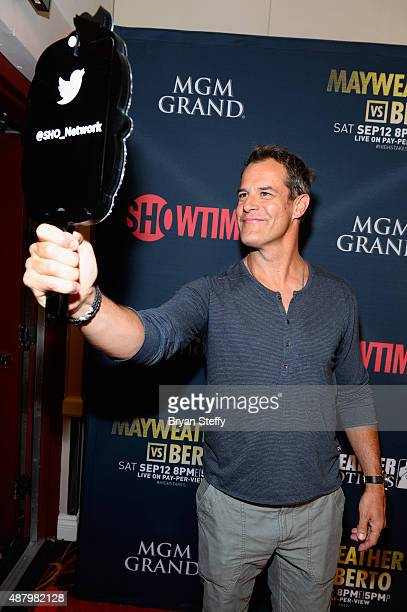 Actor Josh Stamberg poses for a selfie as he arrives at the VIP PreFight Party for 'High Stakes Mayweather v Berto' presented by Showtime at MGM...