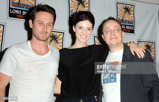 Actor Josh Stewart actress Emma Fitzpatrick and blogger Rick Marshall attend 2012 Long Beach Comic And Horror Con held at Long Beach Convention...