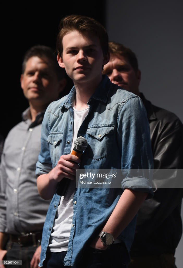 Actor Josh Wiggins (C), producer Brunson Green (L) and Cinematographer Todd McMullen take part in a Q&A following the 'Walking Out' premiere during 2017 SXSW Conference and Festivals at the ZACH Theatre on March 12, 2017 in Austin, Texas.