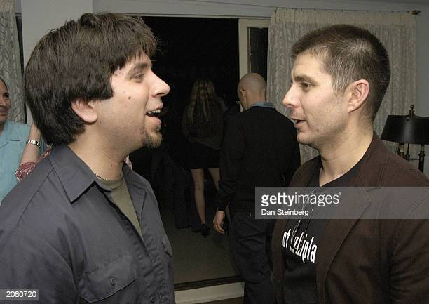 Actor Joshua Gomez and actor Rick Gomez attend the afterparty for the premiere of Last Man Running at Chateau Marmont on June 13 2003 in Hollywood...