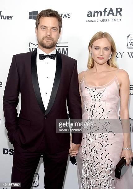 Actor Joshua Jackson and actress Diane Kruger arrive at the amfAR Inspiration Gala at Milk Studios on October 29 2015 in Hollywood California