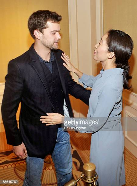 Actor Joshua Jackson and Actress Sandra Oh share a moment at the 24th Annual Artios Awards at the Hyatt Regency Century Plaza Hotel on November 10...
