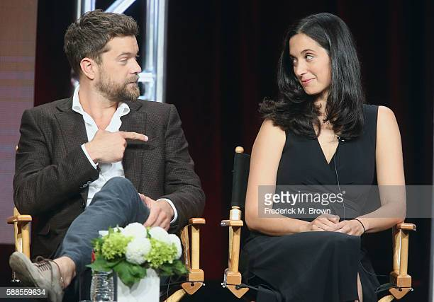 Actor Joshua Jackson and executive producer creator The Affair Sarah Treem speak onstage at 'Love Marriage on TV' panel discussion during the...