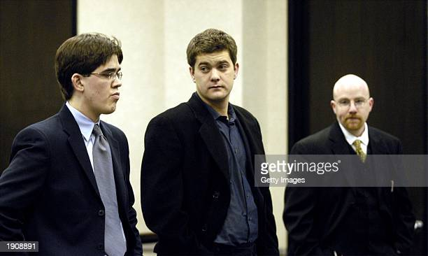 Actor Joshua Jackson appears in Wake County District Court with his lawyer Brad Bannen April 9 2003 in Raleigh North Carolina Jackson is facing...