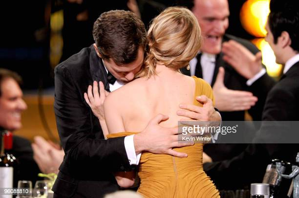 Actor Joshua Jackson hugs actress Diane Kruger after hearing 'Inglourious Basterds' cast won the Cast In A Motion Picture award at the 16th Annual...
