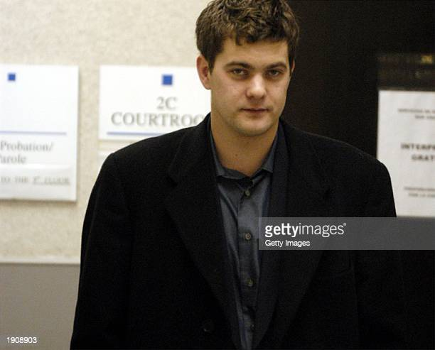 Actor Joshua Jackson waits in the lobby of Wake County District Court for his lawyer Brad Bannen April 9 2003 in Raleigh North Carolina Jackson is...