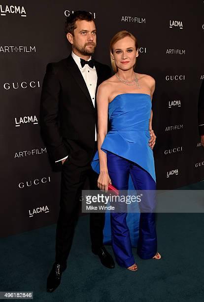Actor Joshua Jackson wearing Gucci and actress Diane Kruger attend LACMA 2015 ArtFilm Gala Honoring James Turrell and Alejandro G Iñárritu Presented...