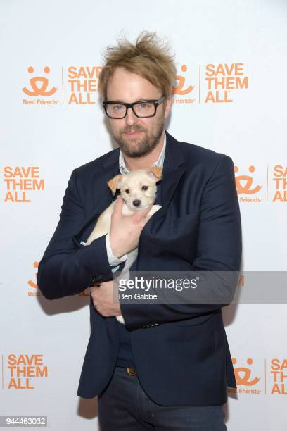 Actor Joshua Leonard holds a puppy at the Best Friends Animal Society's 3rd Annual New York City Gala at Guastavino's on April 10 2018 in New York...