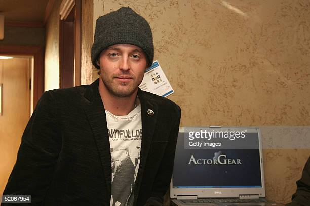 Actor Joshua Leonard visits the ActorGearcom display at the Gibson Gift Lounge during the 2005 Sundance Film Festival on January 25 2005 in Park City...
