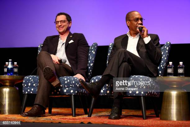 Actor Joshua Malina and Actor Joe Morton speak at a QA for 'Scandal' during Day Two of the aTVfest 2017 presented by SCAD at SCADshow on February 3...
