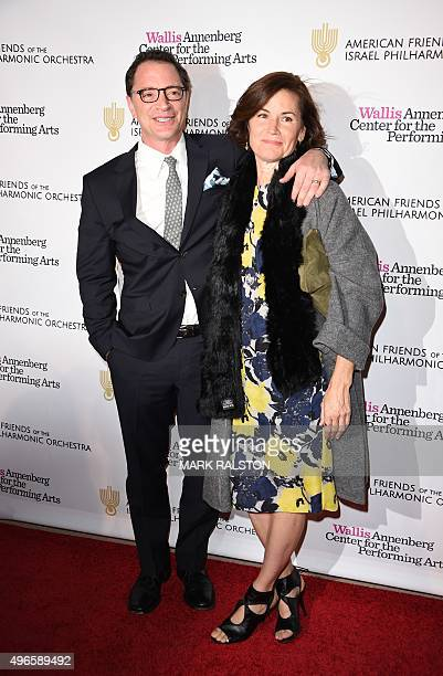 Actor Joshua Malina and Melissa Merwin arrive for the American Friends of the Israel Philharmonic Orchestra Duet Gala at the Wallis Annenberg Center...