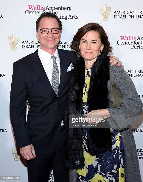 Actor Joshua Malina and Melissa Merwin attend the American Friends of the Israel Philharmonic Orchestra Duet Gala at the Wallis Annenberg Center for...