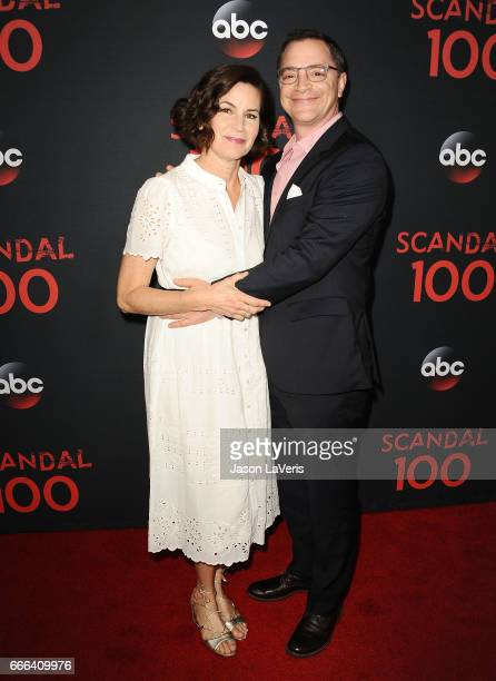 Actor Joshua Malina and wife Melissa Merwin attend ABC's Scandal 100th episode celebration at Fig Olive on April 8 2017 in West Hollywood California