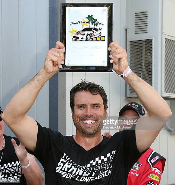 Actor Joshua Morrow won the pole position for the 38th Annual Toyota Pro/Celebrity Race during the Grand Prix of Long Beach on April 17 2015 in Long...