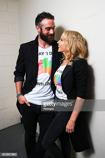 Actor Joshua Sasse and singer Kylie Minogue pose backstage at the ARIA Awards 2016 at Star City Casino in Sydney, New South Wales.