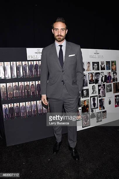 Actor Joshua Sasse prepares backstage at the Todd Snyder fashion show during MercedesBenz Fashion Week Fall 2015 at The Pavilion at Lincoln Center on...