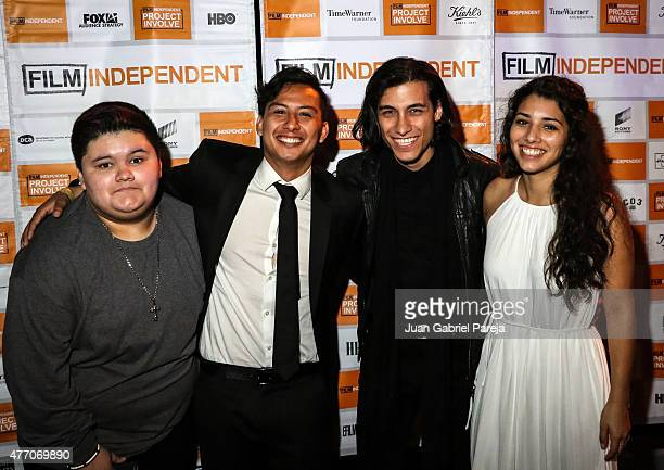Actor Jovan Armand writer/director Ryan Velasquez and actors Rob Raco and Hannah Elane attend the Project Involve shorts after party during the 2015...