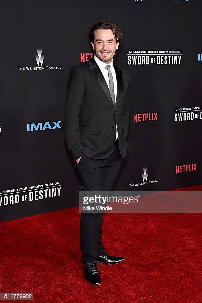 Actor Juan Pablo Espinosa attends the premiere of Netflix's Crouching Tiger Hidden Dragon Sword Of Destiny at AMC Universal City Walk on February 22...