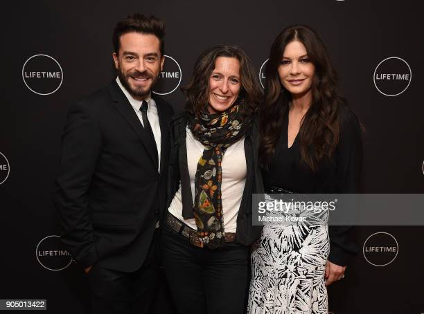 Actor Juan Pablo Espinosa executive producer Alisa Tager and actor Catherine ZetaJones attend AE Networks' 2018 Winter Television Critics Association...