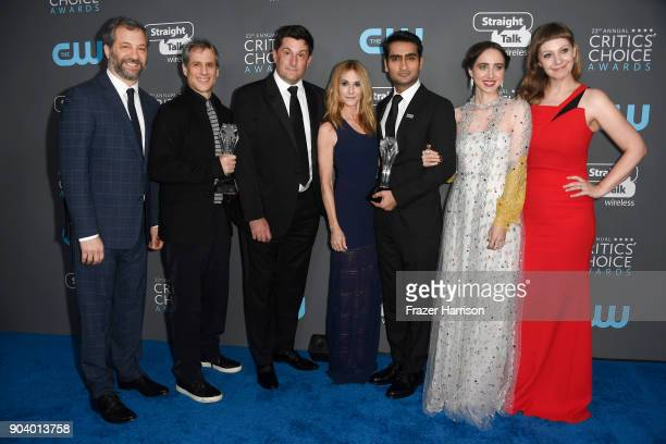 Actor Judd Apatow producers Barry Mendel Michael Showalter actors Holly Hunter Kumail Nanjiani Zoe Kazan and writer Emily V Gordon recipients of the...