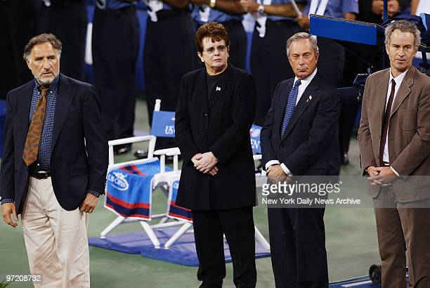 Actor Judd Hirsch tennis great Billie Jean King Mayor Michael Bloomberg and tennis great John McEnroe look on as an American flag recovered from the...