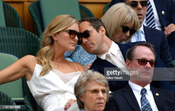 Actor Jude Law and his wife Phillipa Coan attend the Royal Box during Day eleven of The Championships Wimbledon 2019 at All England Lawn Tennis and...