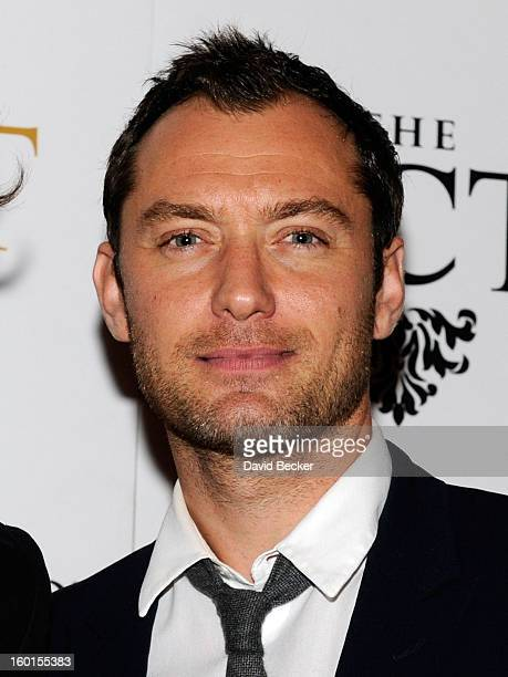 Actor Jude Law arrives at the official Lady Gaga concert after party at The Act at The Palazzo on January 26, 2013 in Las Vegas, Nevada.
